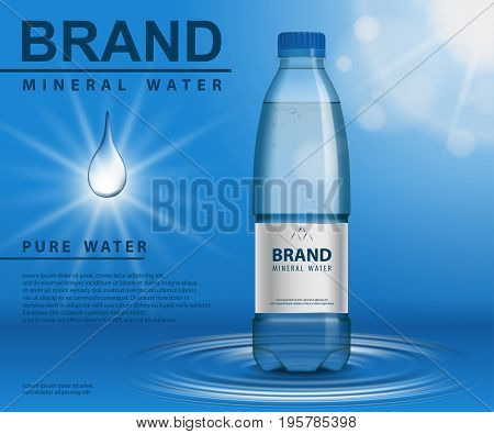 Pure mineral water ad, plastic bottle with water drop elements on blue background. EPS 10 illustration vector