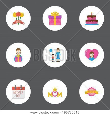 Happy Mother's Day Flat Icon Layout Design With Special Day, Son And Gift To Mom Symbols