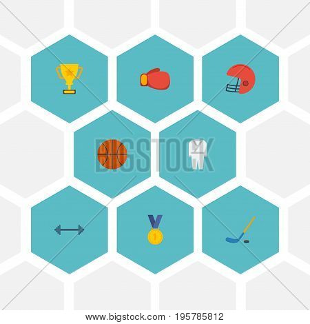 Flat Icons Reward, Basket, Puck And Other Vector Elements