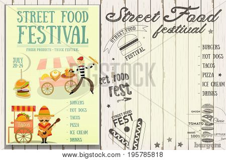 Street Food and Fast Food Truck Festival - French and Mexican Stall. Retro Template Design. Poster on White Wooden Background with Text. Vector Illustration.