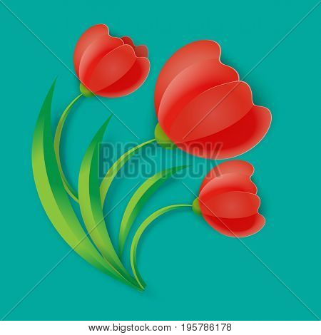 Background three red tulip flowers with green leaves vector illustration isolated on blue. Blooming spring plants in realistic design