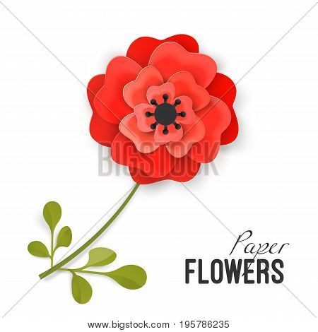 Paper flower lush red peony on small stem with leaves isolated vector illustration on white background. Painstaking origami work on flowers theme.
