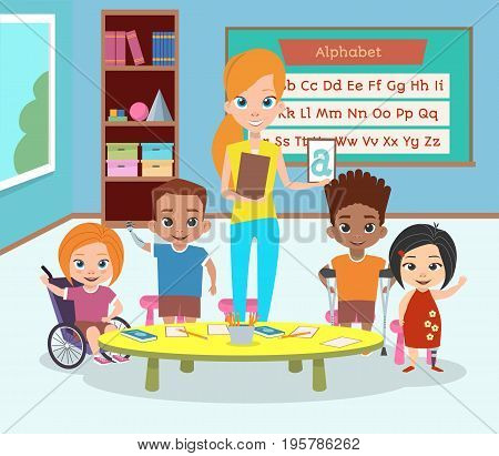 A special class of disabled children. Children with disabilities and the teacher greet and wave their hands. Learning the alphabet