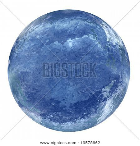 3d blue liquid sphere isolated on white,ideal for 3D symbols, web buttons or logo designs