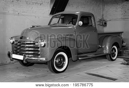 MOSCOW RUSSIA - JUNE 4 2017: American motor car Chevrolet 3100 of the Moscow museum of retro cars
