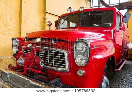 MOSCOW RUSSIA - JUNE 4 2017: Old red fire truck of the Moscow museum of retro cars
