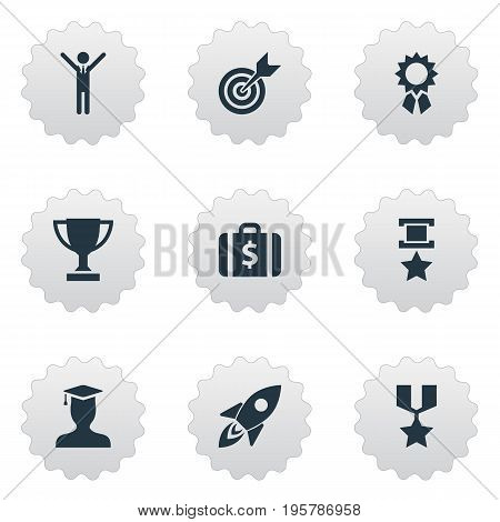 Vector Illustration Set Of Simple Trophy Icons