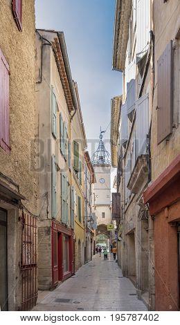 MANOSQUE FRANCE - JUNE 19 2017: Very narrow street in Manosque. Alpes de Haute Provence France
