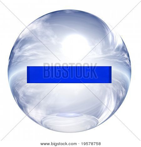 3d blue and white glass sphere isolated on white,with 3d symbol for web design buttons.minus sign.