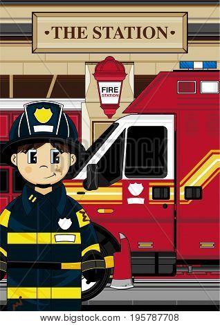 Cute Firefighter Boy Scene