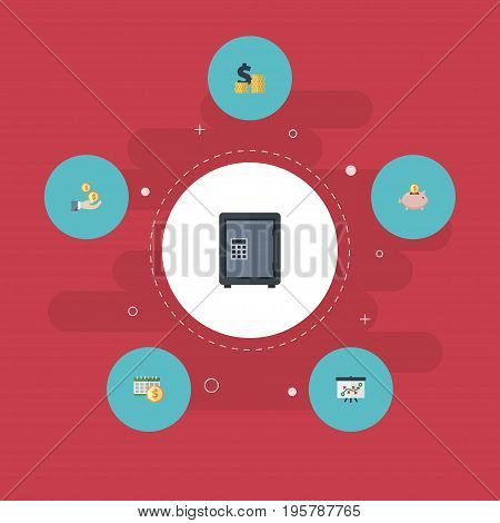 Flat Icons Moneybox, Profit, Deadline And Other Vector Elements