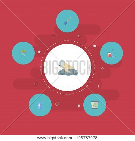 Flat Icons Aqua, Towel, Mopping And Other Vector Elements