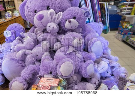VALENSOLE, FRANCE - JUNE 19, 2017: Lavender colored Teddy bear and other soft plush toys for sale at gift shop in Provence