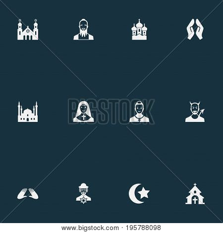 Vector Illustration Set Of Simple Faith Icons