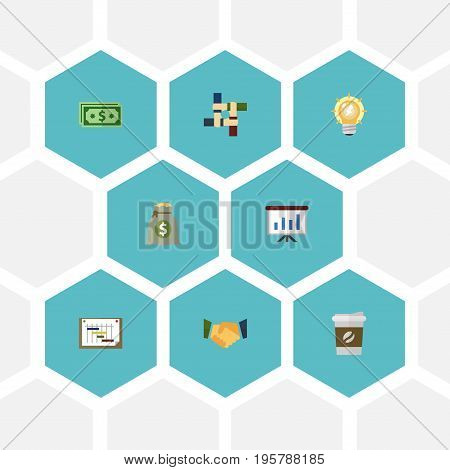 Flat Icons Income, Break, Support And Other Vector Elements
