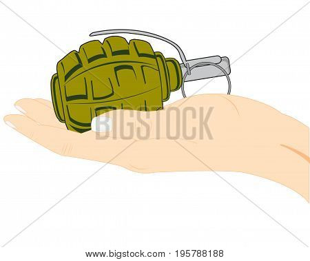 Weapon grenade in hand of the person on white background