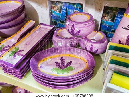 MOUSTIERS-SAINTE-MARIE FRANCE - JUNE 20, 2017: Provence traditional pottery sold at gift shop. France