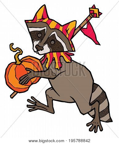 raccoon in jester costume carries a pumpkin - vector illustration isolated on white background