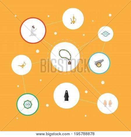 Flat Icons Decorative, Bead, Muslim Woman And Other Vector Elements