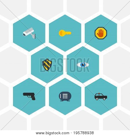 Flat Icons Vision, Shield, Safe And Other Vector Elements