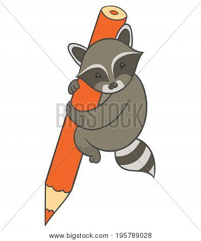 Vector illustration raccoon holding large colored pencil