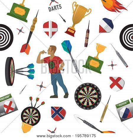 Pattern of darts items, elements, labels, icons, symbols, emblems with darts men, dart, arrow, dartboard, trophy shield for sport and leisure theme design. Vector illustration art