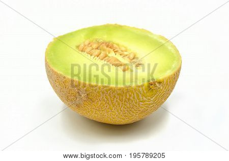 Cantaloupe view on a white background isolated