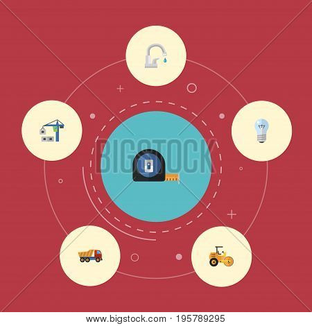 Flat Icons Faucet, Bulb, Van And Other Vector Elements