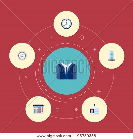 Flat Icons Office, Cogwheel, Costume And Other Vector Elements