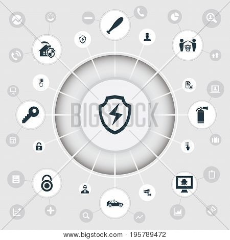 Vector Illustration Set Of Simple Secure Icons