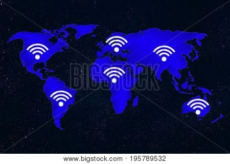 Wi-fi Symbols All Over World Map