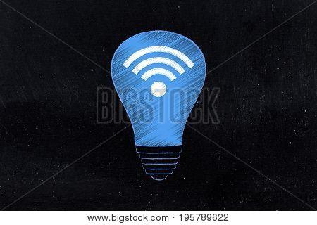 Ightbulb With Wi-fi Symbol In It