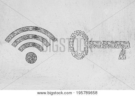 Electronic Microchip Password Key And Wi-fi Symbol Next To Each Other