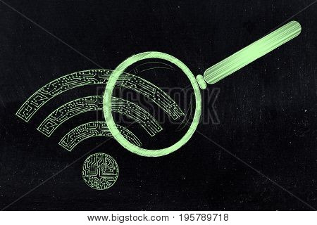 Wi-fi Symbol Made Of Microchip Circuits Analysed By Magnifying Glass