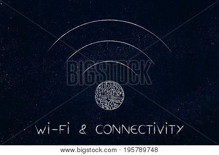 Wi-fi Connection Symbol With Microchip Detail