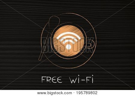 Coffee Cup From Above With Free Wi-fi Symbol