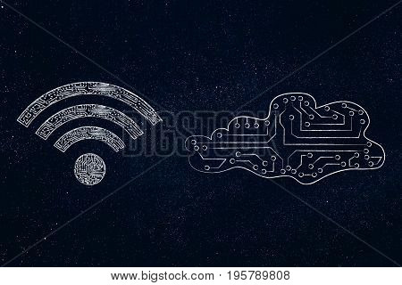 Electronic Cloud With Wi-fi Symbol Made Of Microchip Circuits
