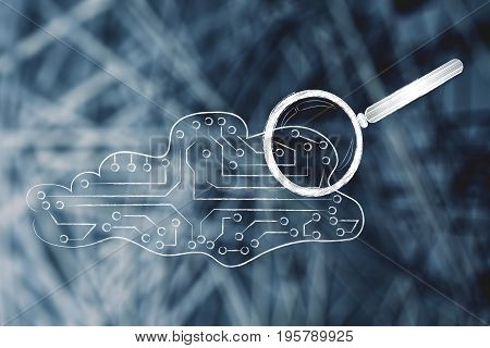Electronic Cloud With Magnifying Glass On It