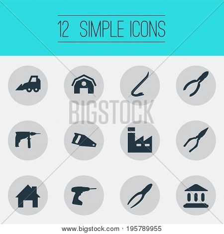 Vector Illustration Set Of Simple Industrial Icons