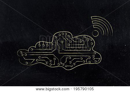 Electronic Cloud With Wi-fi Symbol Coming Out Of It
