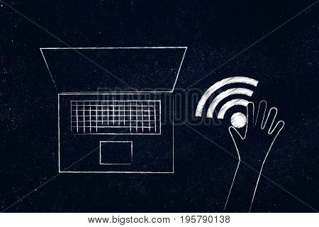 Hand Holding Wi-fi Symbol Next To A Laptop