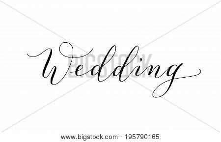 Wedding text, hand written custom calligraphy isolated on white. Elegant ornate lettering with swirls and swashes. Great for wedding invitations design, cards, banners, photo overlays.