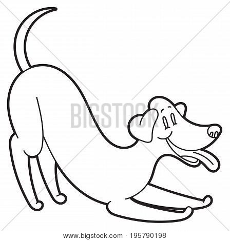 Playing cartoon dog with smile - vector illustration