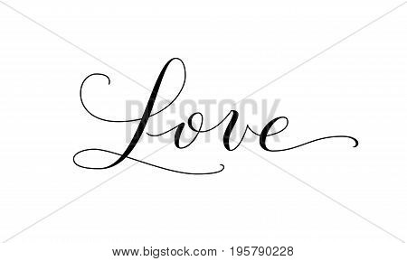 Love word, hand written custom calligraphy. Elegant ornate lettering with swirls and swashes. Great for valentine day cards, wedding invitations and romantic decoration.