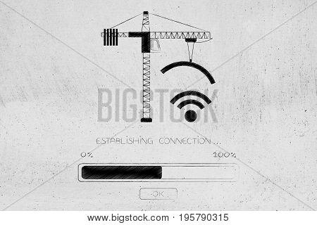 Tower Crane Builing A Wi-fi Symbol, Establishing Connection
