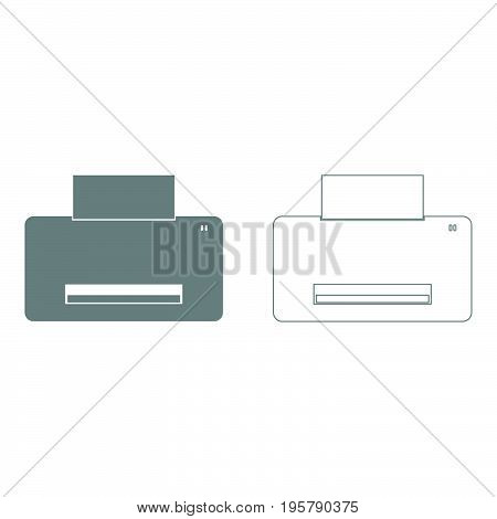Printer   it is grey  set icon .