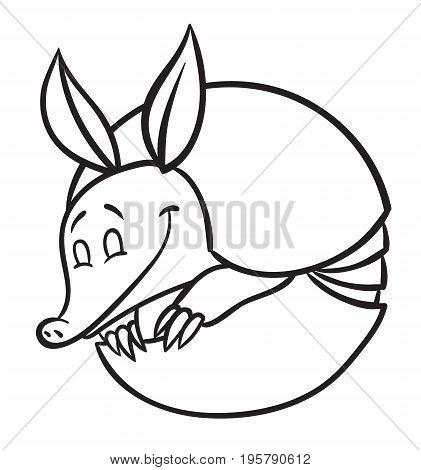 Vector illustration of happy cartoon funny armadillo