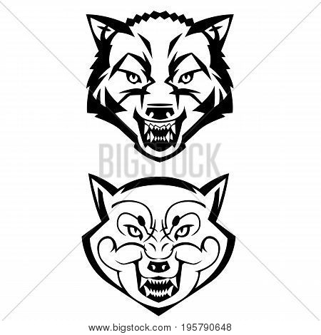 wolf's heads showing teeth harsh beast hunter forest vector can be used as a tattoo or logo