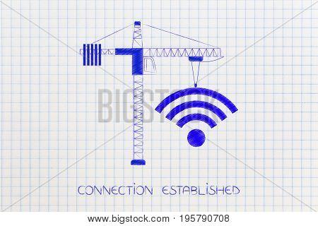 Tower Crane Buiilding A Wi-fi Symbol