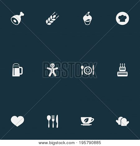 Vector Illustration Set Of Simple Kitchen Icons